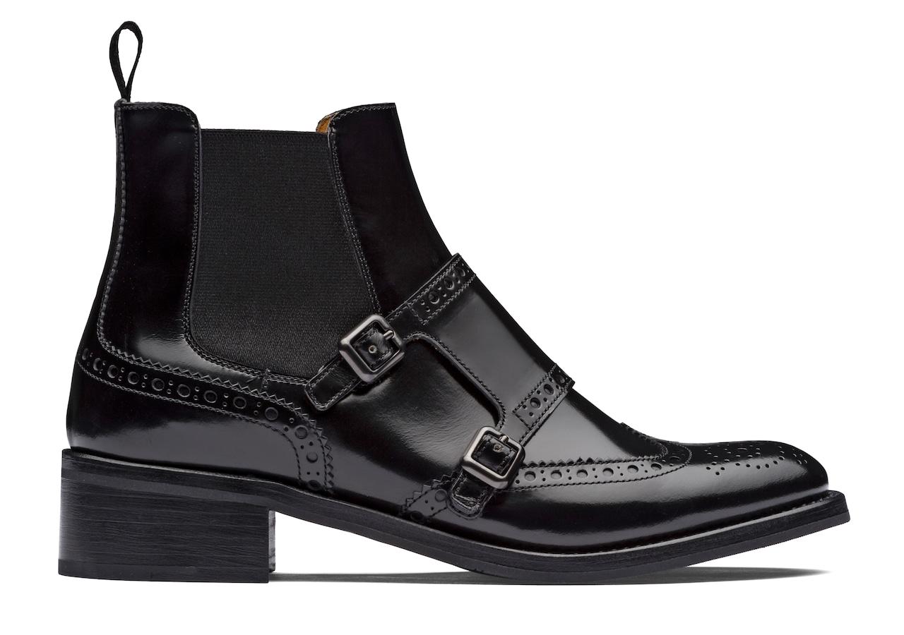 Stella Church's Polished Fumè Boot Brogue Black