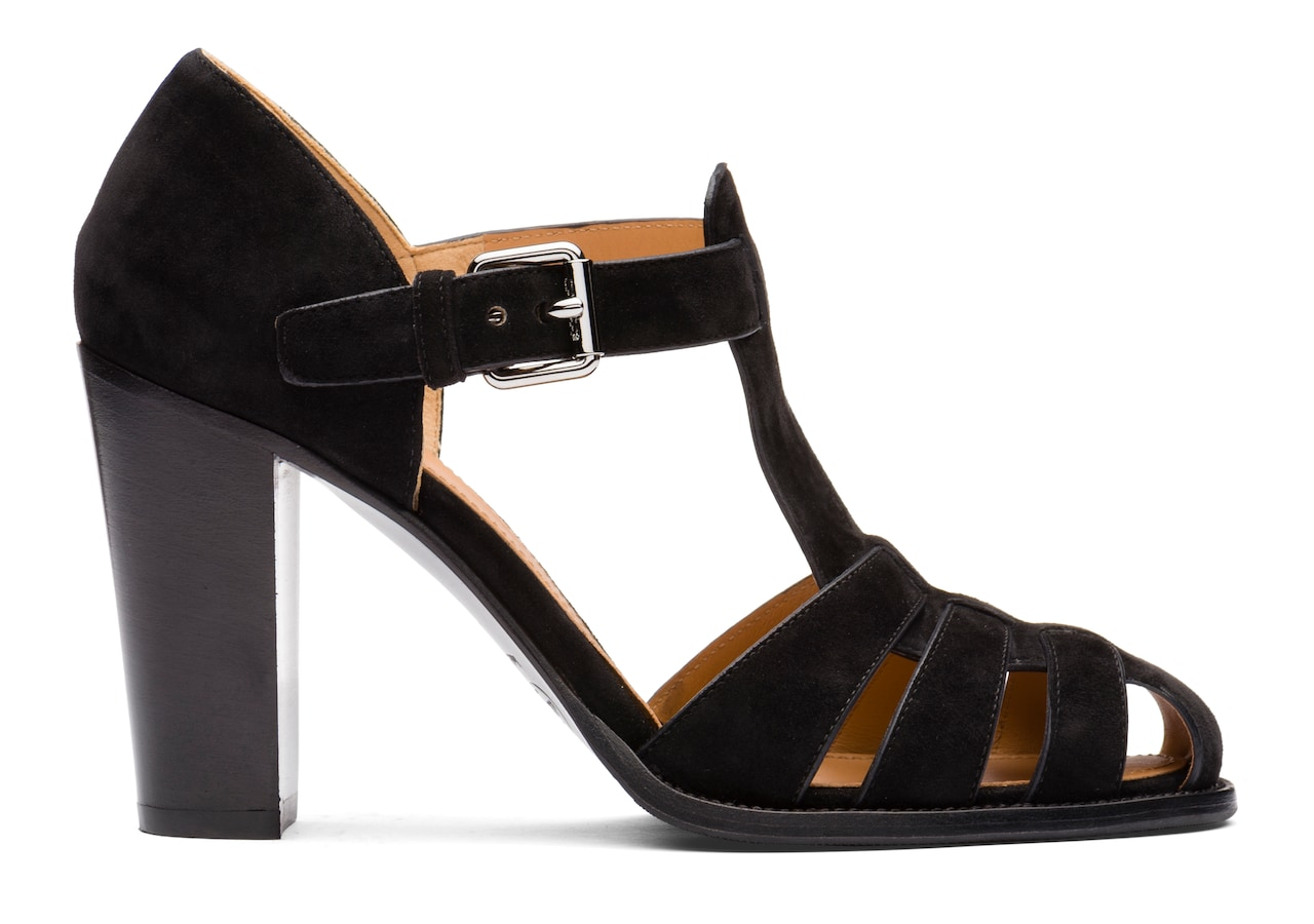 Kelsey 90 Church's Suede Heeled Sandal Black