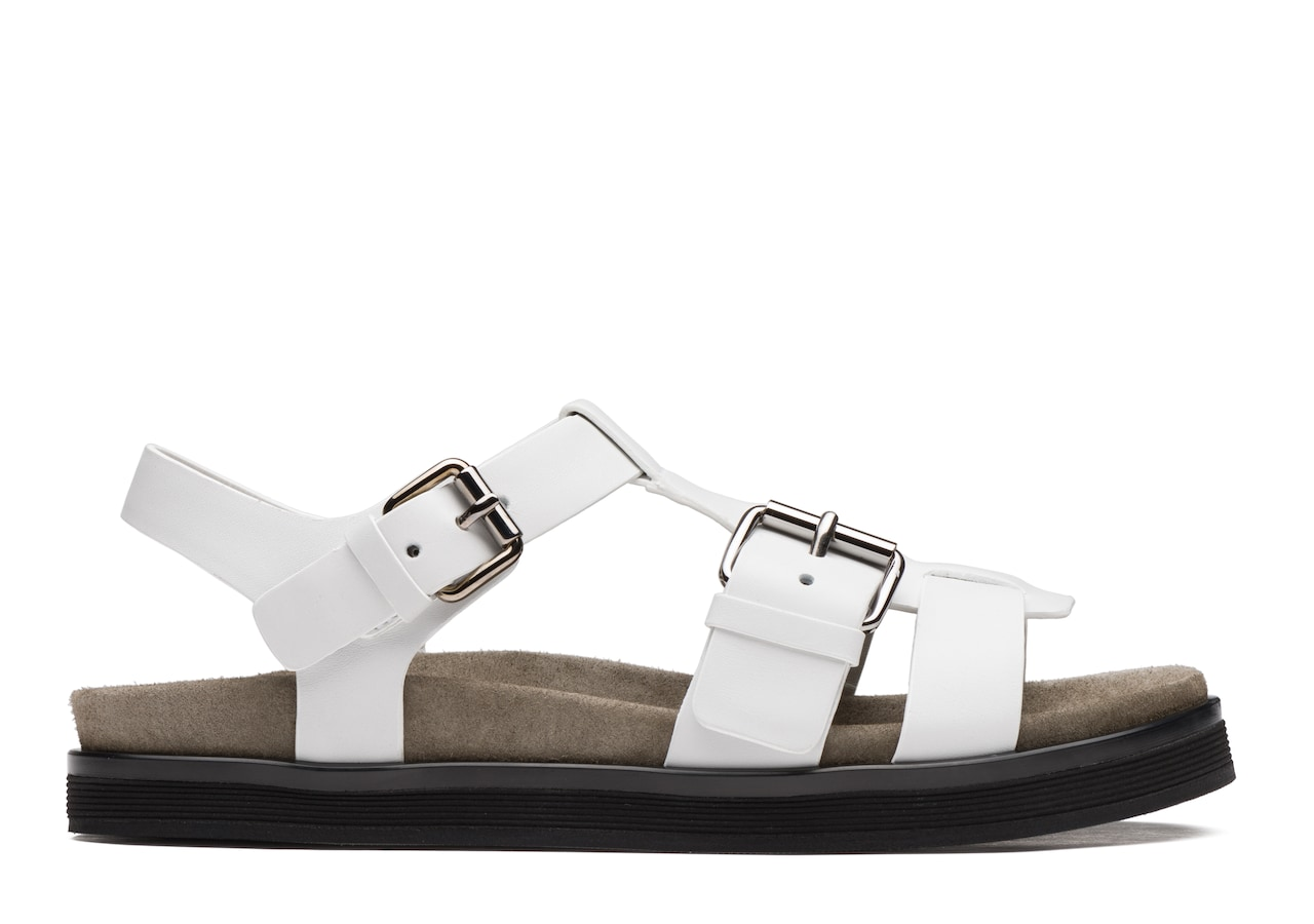 Britney Church's Calf Leather Footbed Sandal White