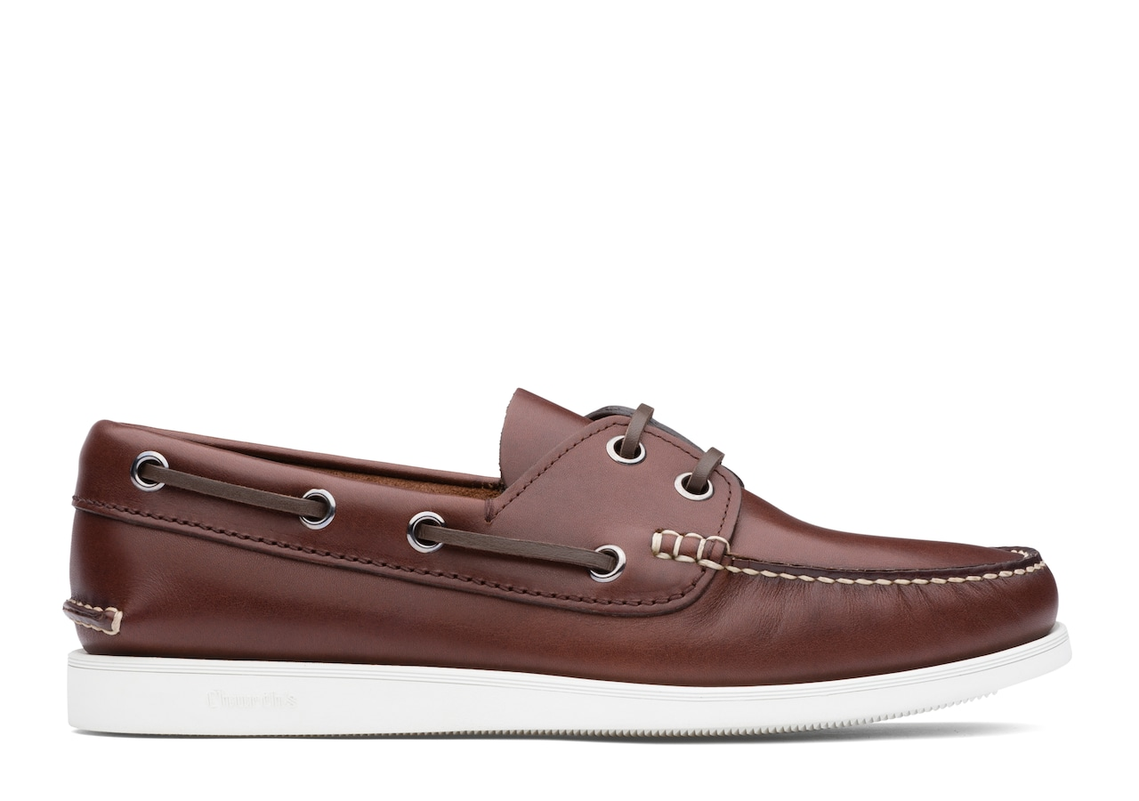 Marske Church's Calf Leather Boat Shoe Brown