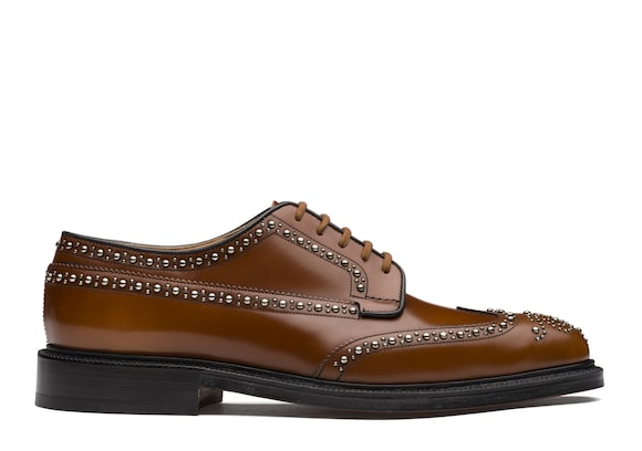 Derby Brogue in Pelle di Vitello Spazzolato Borchia