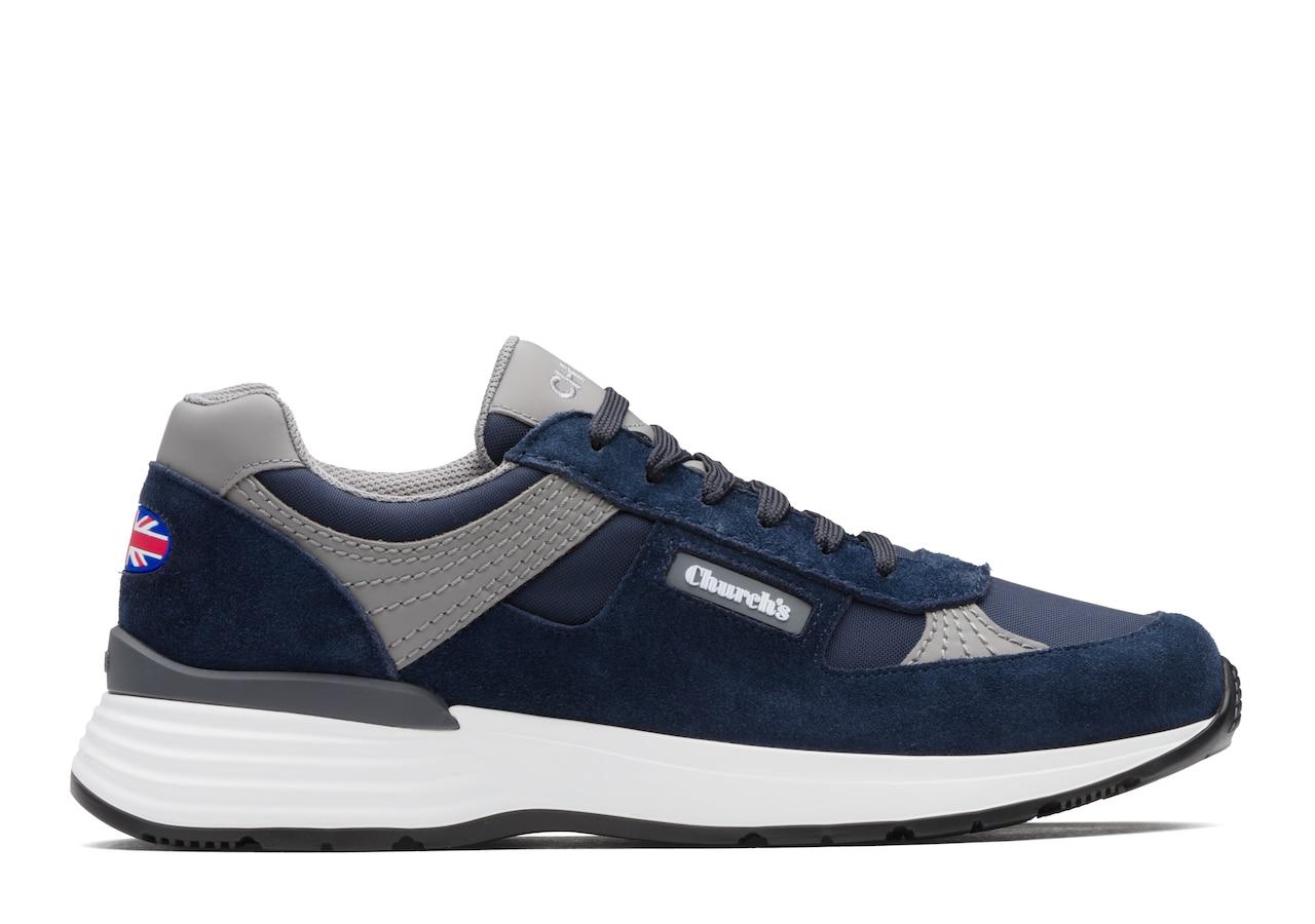 Ch873 Church's Suede Tech Retro Sneaker Blue