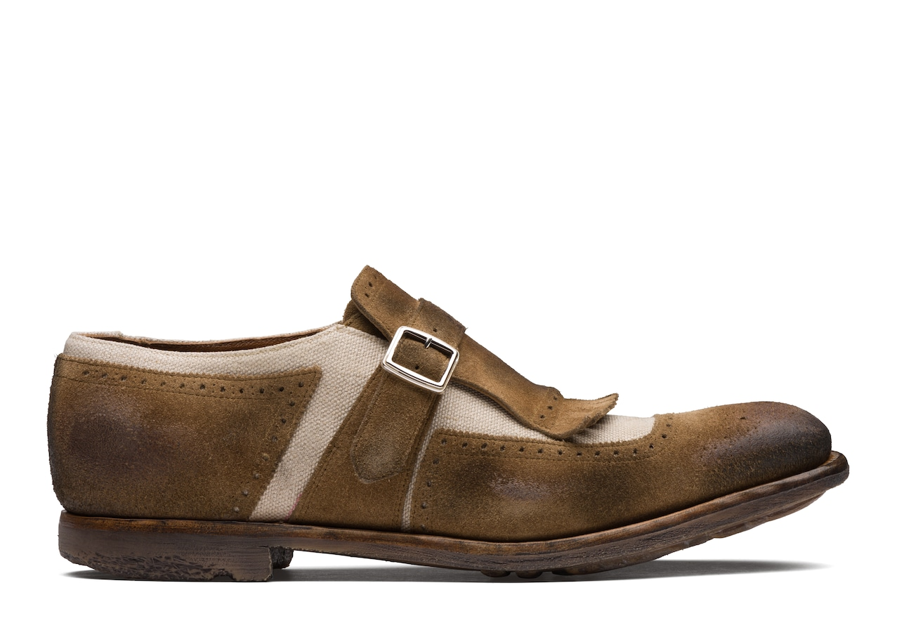 Shanghai Church's Suede and Linen Buckle Loafer Brown
