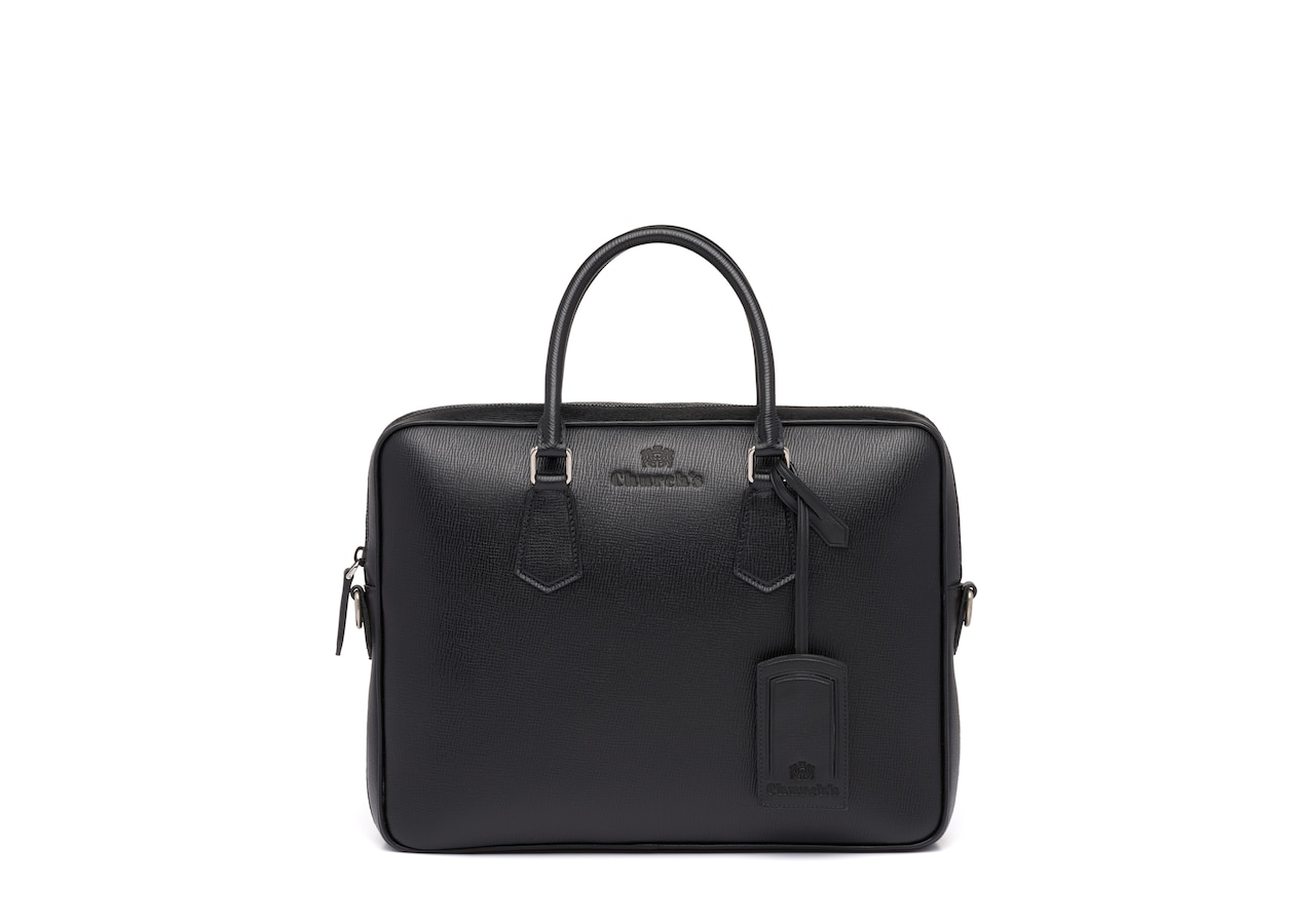 Craven Church's St James Leather Laptop Bag Black